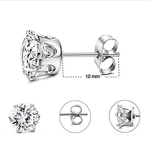 Lumanuby 2x Zircon de titanio de acero inoxidable Diamantes de Moda de Plata Estilo /étnico vintage Pendientes Mujer Plata Temperamento