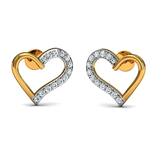 JewelsForum Yellow Gold in 14Kt and Diamond Studded Earrings 0.39 Carat TCW by JewelsForum