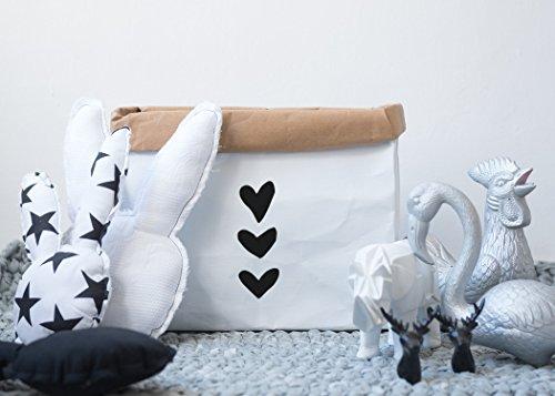 Water Resistant Kraft Paper Storage bag, Storage Basket, Storage Bin, Bathroom Storage, Laundry Hamper, Monochrome Home Decor