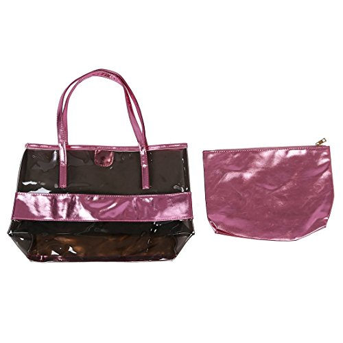Woman Bags - Toogoo (r) Waterproof Hand Half Transparent Bag, Beach Bag Pvc And Polyester With Small Cosmetic Bag (gold) Varios_colores