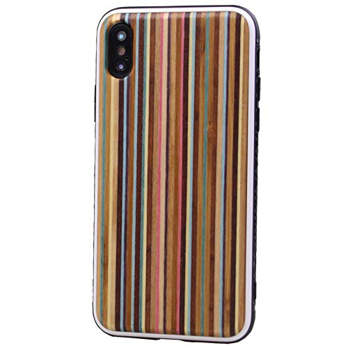 (Wood Case for iPhone Xs/X, Unique Eco-Friendly Premium Real Wooden Lightweight Snap-On Back Case Cover with Shockproof TPU Bumper Protection for Apple iPhone XS/10S(2018), X/10(2017) 5.8 Inch-Rainbow)