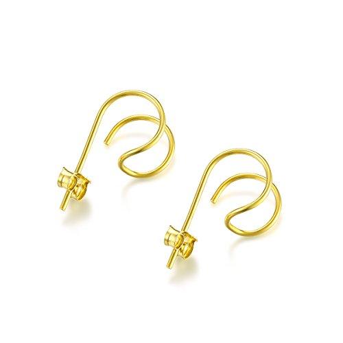 DOMILINA Minimalist Sterling Silver Hoop Hook Stud Earrings (Gold)