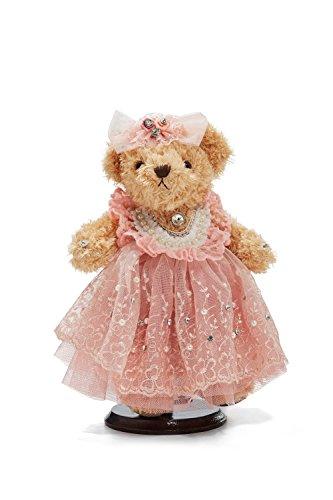 "Bride Teddy Bear in Pink Tutu Dress Wedding Stuffed Animal Soft Plush Toy 10"" (light brown, cherry blossom pink)"