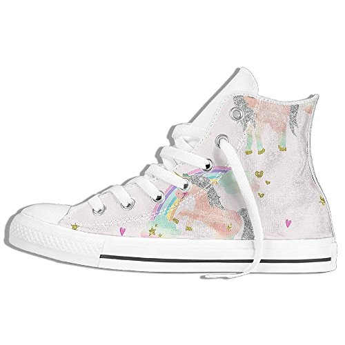 Classic High Top Sneakers Canvas Shoes Anti-Skid Unicorn Pink Casual Walking For Men Women White zbtNt