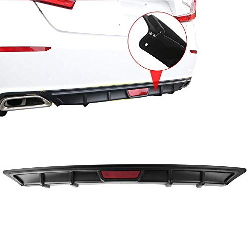Rear Bumper Diffuer With 3rd Brake Light Fits 2018 Honda Accord | OE Style Unpainted Black PP by IKON MOTORSPORTS - Honda Accord Front Spoiler