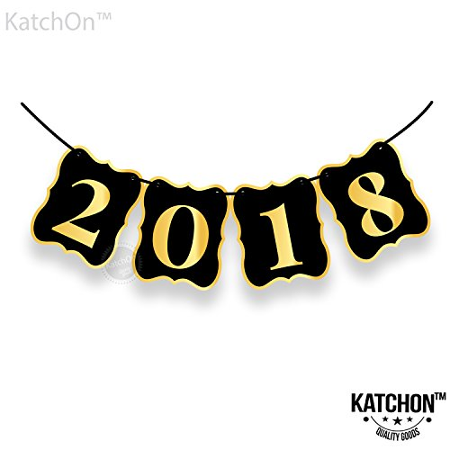 2018 Banner, Black and Gold - Beautiful Banner Decor for Graduations Party Supplies 2018 Graduations Photos, Events, Proms | Alternative To 2018 Balloons | Large 8 Inch