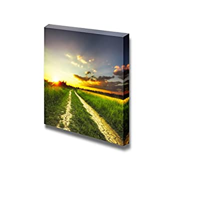 Pretty Creative Design, Rural Landscape Path in The Field at Sunset Wall Decor, Crafted to Perfection