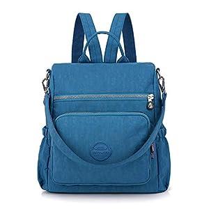 Women Bag Baby Changing Handbags Waterproof Nylon Bags Multi-Function Backpack Sky Blue
