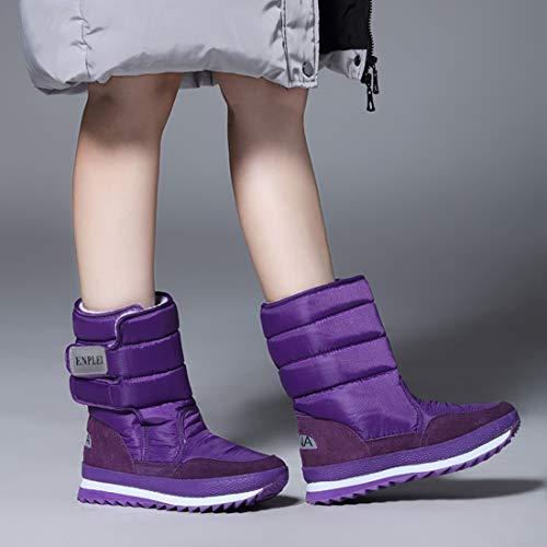Chaudes mollet Xuanli Femmes Étanche Mi Glissement Unique Textiles Bouton Douces Sport Neige Violet De Bottes YOwZqrY