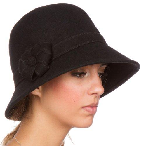 Black Satin Cloche Hat (Sakkas 20M Molly Vintage Style Wool Cloche Hat - Black - One Size)