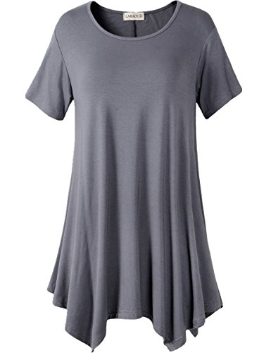 LARACE Womens Swing Tunic Tops Loose Fit Comfy Flattering T Shirt (L, Deep Gray)