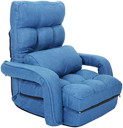 Blue Adjustable Folding Lazy Sofa Floor Chair Sofa Lounger Bed w/Armrests Pillow