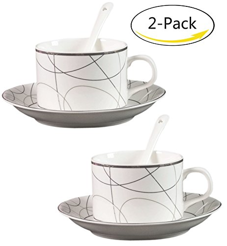 BandTie (2-Pack) 5 OZ Tea Coffee Brewing System-Chinese Jingdezhen Blue and White Porcelain Coffee Cup/Espresso Cup/Cappuccino Cups/Coffee Mug 3-Piece Set with Spoon and Saucer,Crisscross Lines