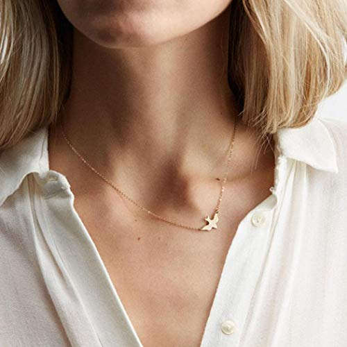 CanB Dove Necklace Dainty Minimalism Necklace Flying Bird Necklace Dainty Layring Necklace Tiny Bird Choker Simple Necklace for Women Girls (Gold) ()