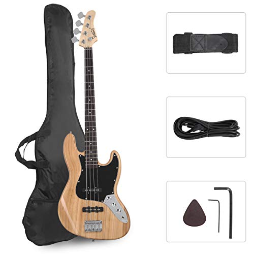 GLARRY 4 String GJazz Electric Bass Guitar Full Size Right Handed with Guitar Bag, Amp Cord and Beginner Kits (Burly Wood)...