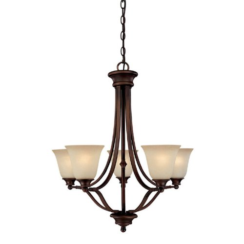 Capital Lighting 3415BB-287 Chandelier with Mist Scavo Glass Shades, Burnished Bronze Finish