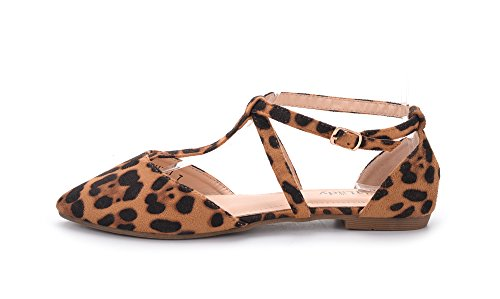 Mila Lady Laurel New Fashion Damen Spitz Knöchel Wrap T-Strap D'Orsay Wohnungen Leopard
