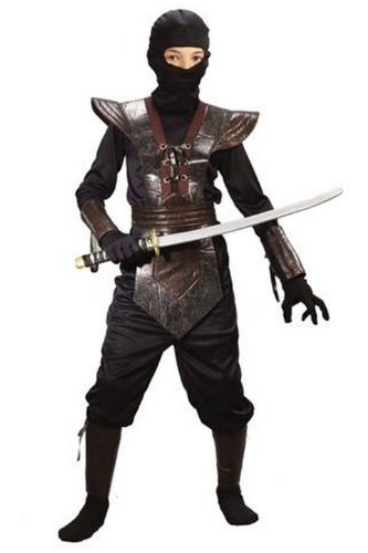 Ninja Fighter Costume - Child Costume - Black Medium (8-10) -