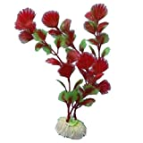 SODIAL(R) Red Plastic Fern Plants Water Fish Tank Landscaping Aquarium Ornament Decoration