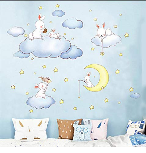 Bunny Wall Stickers Rabbits Wall Decals, Set of 5 Rabbits with Moon Star Cloud, Easter Holiday Wall Stickers Decor Bedroom Removable Vinyl Art Mural Decals for Girls Nursery (Rabbit)