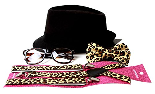 Gravity Trends Hipster Nerd Outfit Kit, Leopard