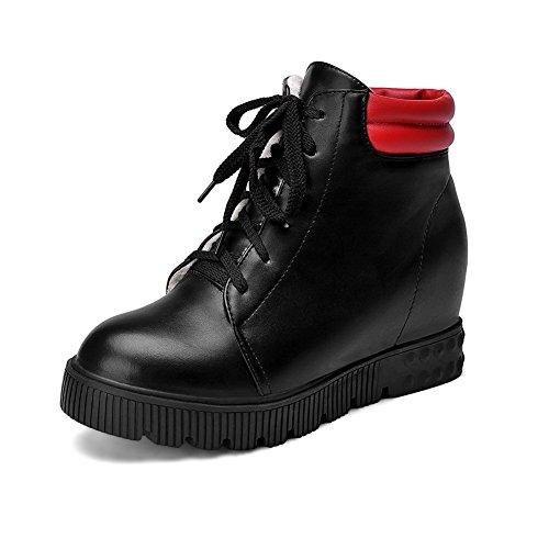 AdeeSu Girls Bandage Color Matching Thick Bottom Heel Platform Imitated Leather Boots Black oNqPl