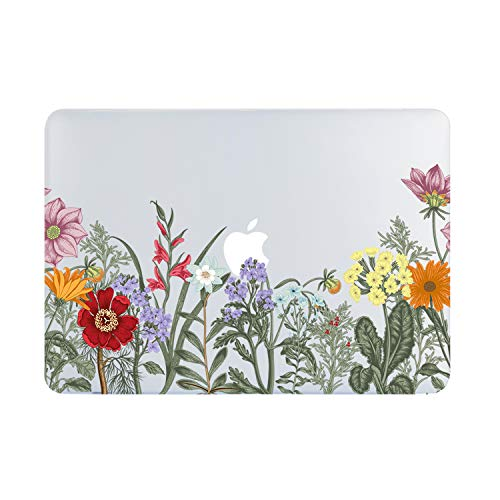 Wild Floral MacBook Air 13 Inch Case 2018 Release A1932, Pink Yellow Purple Red Flower Clear Case, Soft Tough Frosted See Through Hard Shell Case for MacBook Air 13 Inch & Retina Display Fit Touch ID
