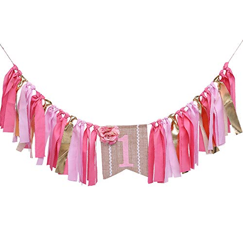 Decorations for 1st Birthday Babies Toddlers Girl Flower Banner Party Supplies ()