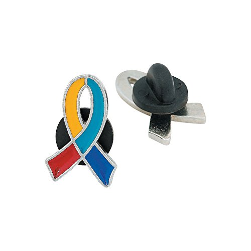 (12 Autism Awareness Ribbon Pins 7/8