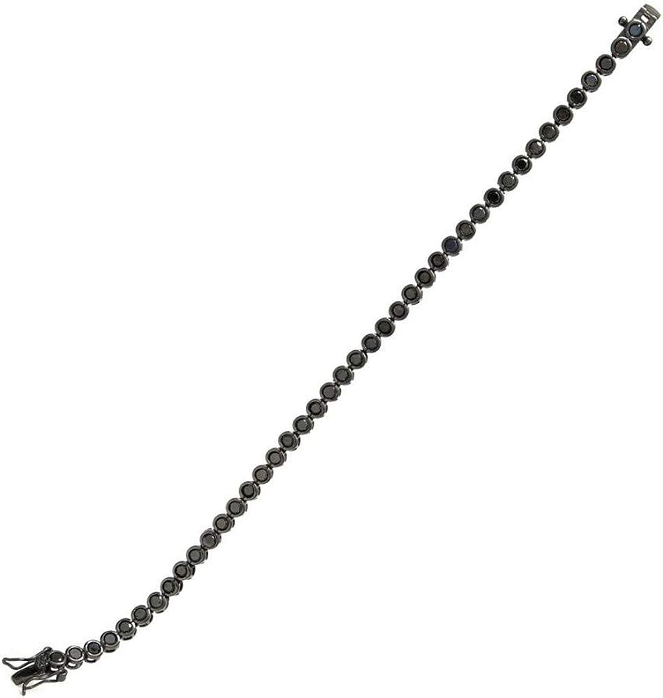 Pulsera Lineargent plata Ley 925m baño rutenio 17.5cm. estilo Riviere circonitas negras círculos
