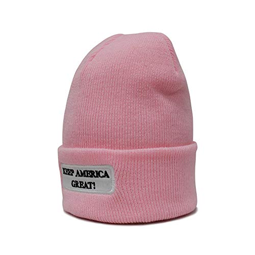 KKMKSHHG Keep America Great Beanie Men Women - Unisex Winter Warm Plain Skull Knit Hat Cap (One Size, Pink Beanie)