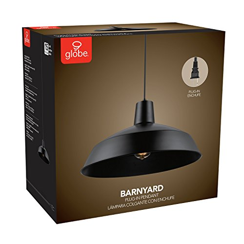 Globe Electric Barnyard 1-Light 16'' Industrial Warehouse Plug-in Pendant, Black 15' Cord, Matte Black Finish, in-Line On/Off Switch, 65151 by Globe Electric (Image #7)