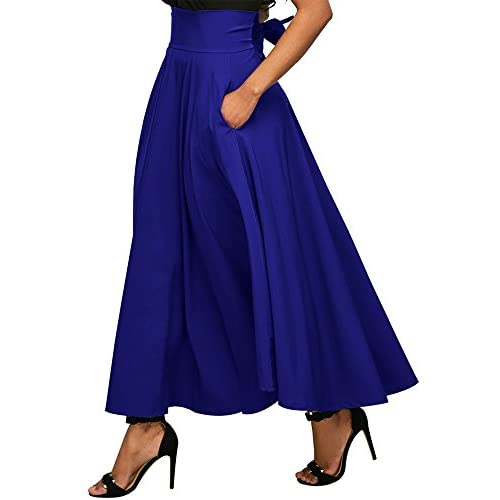 739901b2763d29 60%OFF FUSENFENG Womens Plus Size Long Skirt Vintage High Waist Pleated A Line  Swing