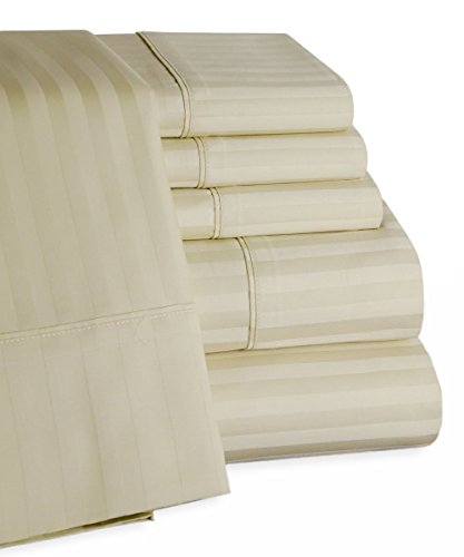 Mellanni 100% Egyptian Cotton Striped Bed Sheet Set - 450 Thread Count Sateen Luxury Bedding - 6 Piece (Queen, Ivory)