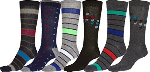 Sakkas 70501G3 - Men's Crew High Patterned Colorful Design Dress Socks Asst Value 6-Pack - Dots and Stripes-1 - 10-13