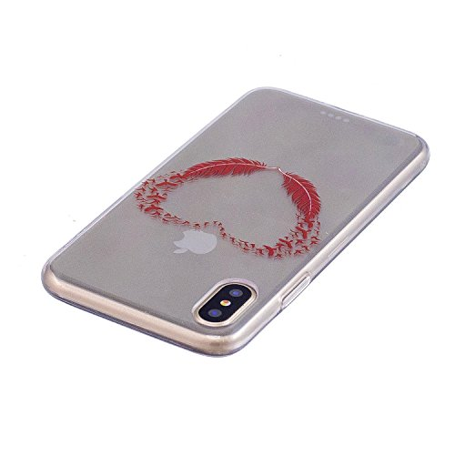 iPhone X Hülle , Leiai Modisch Rot Herz TPU Transparent Weich Tasche Schutzhülle Silikon Handyhülle Stoßdämpfende Schale Fall Case Shell für Apple iPhone X
