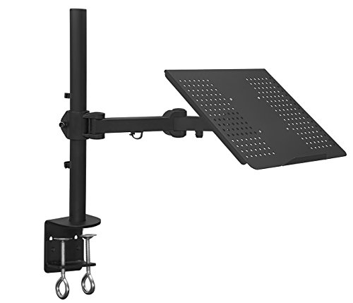 Mount-It! Laptop Notebook Desk Mount Stand with Full Motion Height Adjustable Holder, Articulating Vented Cooling Platform, Fits Up to 17 Inch Computers, Clamp Mounting, 22 Lb Capacity Black (MI-3352LT)