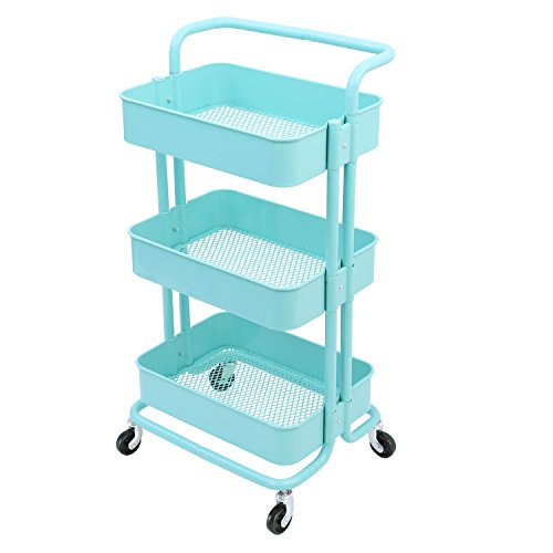 3-Tier Metal Mesh Storage Shelf Utility Rolling Cart with Removable Handle and Plug, Indoor or Outdoor Storage Organizer, Turquoise ()