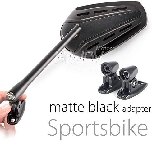 KiWAV Magazi マガジ バイクミラー ジッパー 黒 カウルミラー フェアリングミラー フェアリング取付 新版 黒のアダプター 左右セット