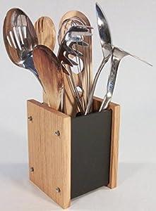 Handmade Natural Slate U0026 Solid Oak Kitchen Utensil Holder   Modern  Contemporary Style