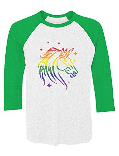 Pride Parade Gay & Lesbian Rainbow Unicorn 3/4 Sleeve Baseball Jersey Shirt Medium Green/White