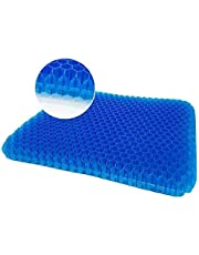 Gel Seat Cushion,Double Thick Egg Seat Cushion,Non-Slip Cover,Help in Relieving Back Pain & Sciatica Pain,Seat Cushion for The Car,Office,Wheelchair&Chair.Breathable Design,Durable,Portable