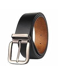 Cinturón para Hombres de Piel Genuina 110cm-180cm Regular & Hombres Grandes y Altos con Ajustable Hebilla Desmontable para Vaqueros, Caqui, Vestido,38 mm