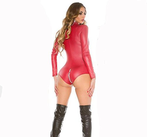 SHANGXIAN Women Latex Catsuit Black Red Zip to Crotch Long Sleeve Leather Bodysuit Lingerie Plus Size Leather Fitted Teddy,Red,L ()