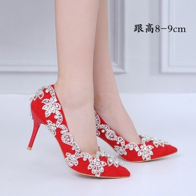 Heel Shoe Fine Shoes Heel Drill Red 10 Tuxedo Water Prom Toast Crystal Heel Wedding Female VIVIOO 11Cm Bride Sandals Single High 4 Shoes g4zZKCqw