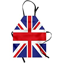 Ambesonne Union Jack Apron, Classic Traditional Flag United Kingdom Modern British Loyalty, Unisex Kitchen Bib Apron with Adjustable Neck for Cooking Baking Gardening, Royal Blue White Vermilion
