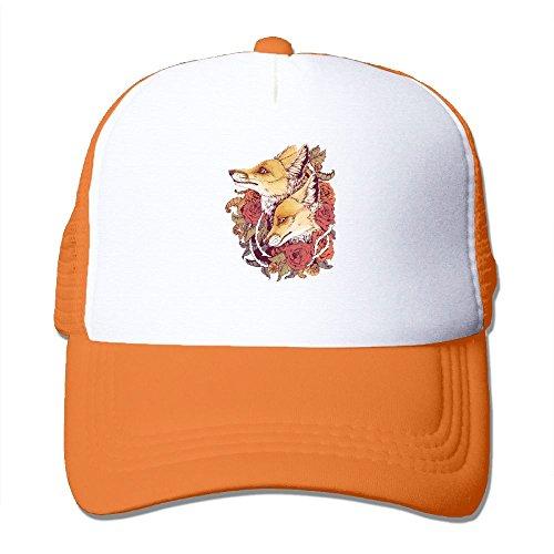 Fox Bloom Mesh Trucker Hat - Baseball Cap Orange (Inked Fox)