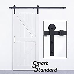 SmartStandard Heavy Duty Sturdy Sliding Barn Door Hardware Kit 6.6ft • Super Smoothly and Quietly • Simple and Easy to install • Includes Step-By-Step Installation Instruction