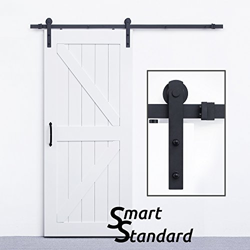 SMARTSTANDARD 6.6 FT Sliding Barn Door Hardware (Black) (I Shape Hangers) - Wood 12' Part