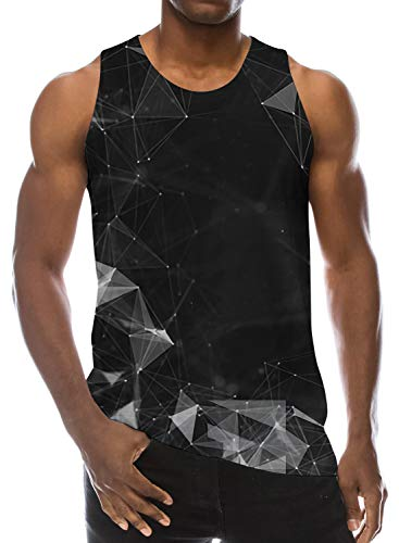 (Men 3D Printed Graphic Black Geometric Fog Tank Tops Design Funniest Athletic Sleeveless Summer Vest Top Tee M )